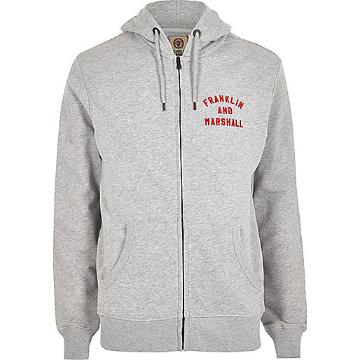 Grey Franklin & Marshall zip front hoodie