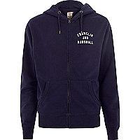 Navy Franklin & Marshall zip front hoodie
