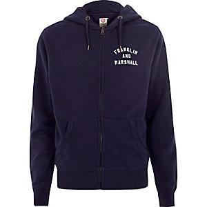 Franklin & Marshall – Sweat à capuche zippé bleu marine zippé sur le devant