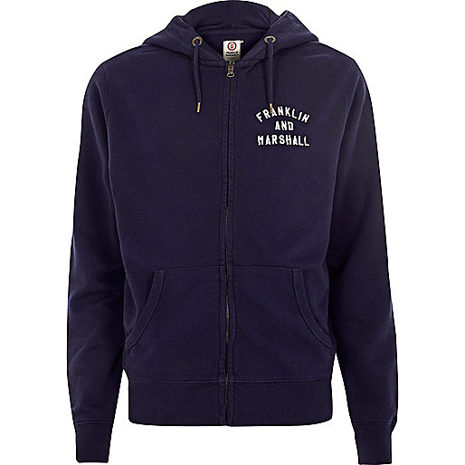 Navy Franklin & Marshall zip front hoodie