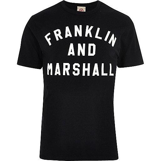 Franklin & Marshall - Zwart T-shirt met print