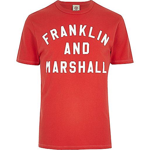 franklin marshall rotes bedrucktes t shirt t. Black Bedroom Furniture Sets. Home Design Ideas