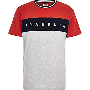Franklin & Marshall – T-shirt rouge colour block