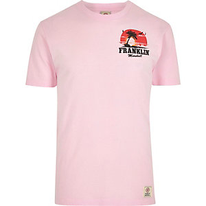 Pink Franklin & Marshall palm print T-shirt