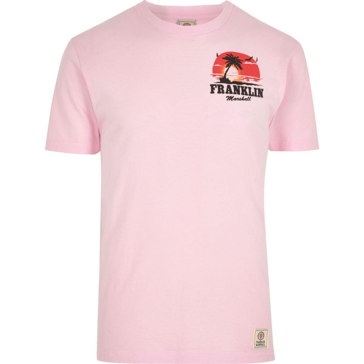 Pink Franklin & Marshall palm print T-shirt