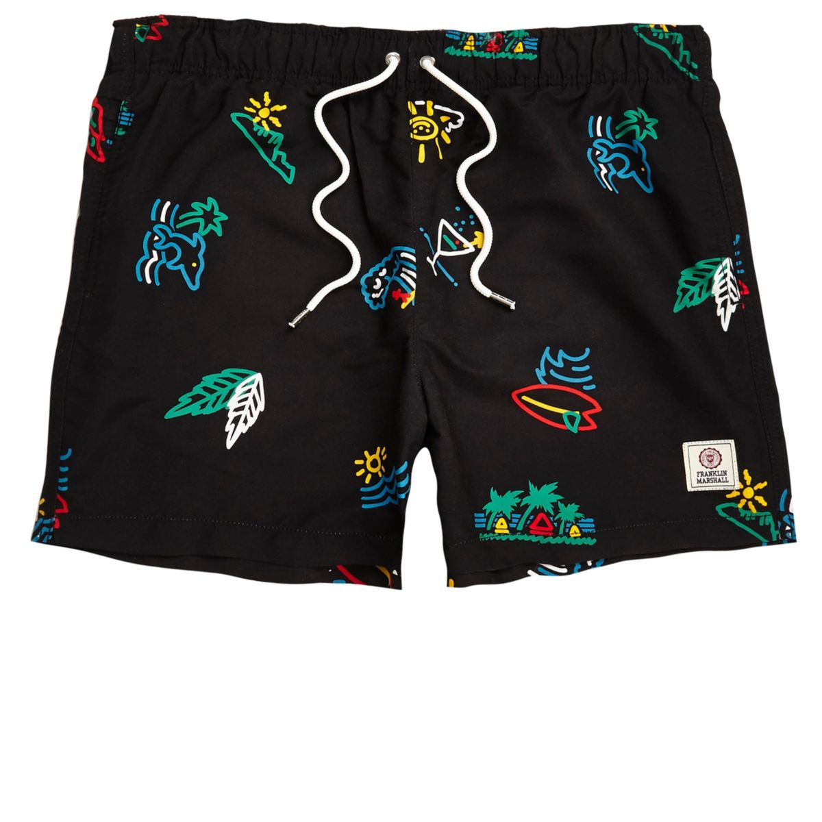 Black Franklin & Marshall print swim shorts