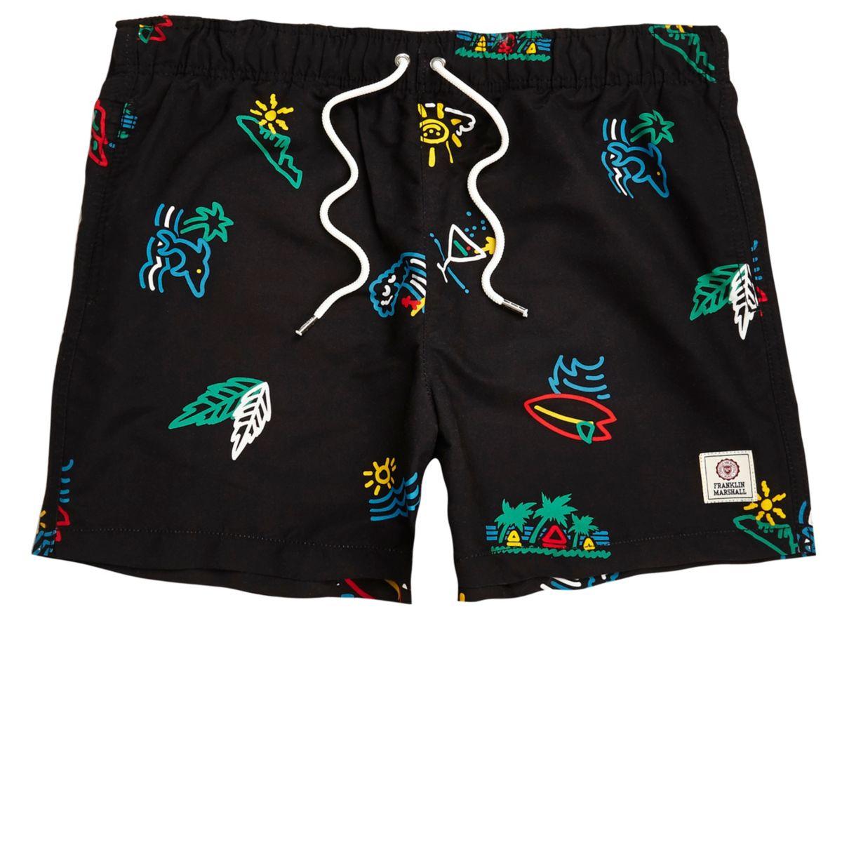 Black Franklin & Marshall print swim trunks