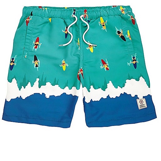 Green Franklin & Marshall print swim trunks