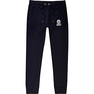 Franklin & Marshall - Marineblauwe jersey joggingbroek