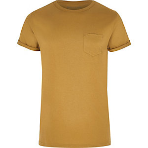 Mustard yellow rolled sleeve pocket T-shirt
