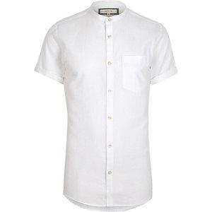 Wit kort Oxford overhemd zonder kraag met korte mouwen