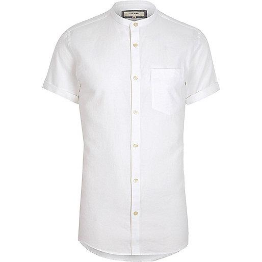White short sleeve Oxford grandad shirt