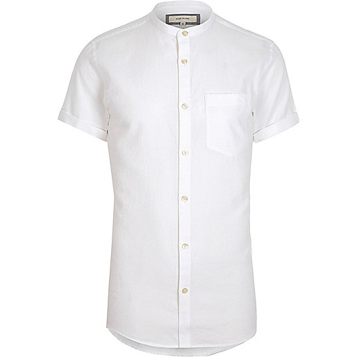 White short sleeve Oxford grandad shirt