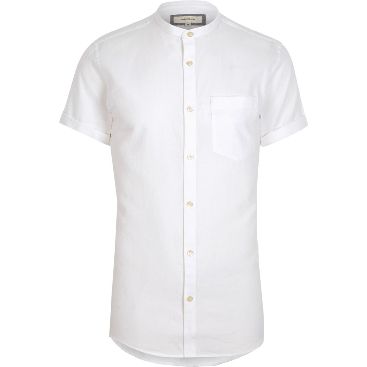 White short sleeve oxford grandad shirt shirts sale men for Short sleeve grandad shirt