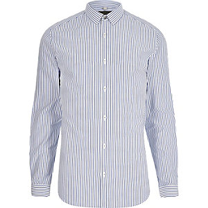 Blue poplin stripe print slim fit shirt