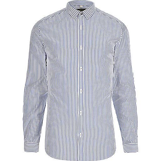 Blue poplin stripe print slim fit shirt