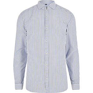 Blue stripe cutaway collar slim fit shirt