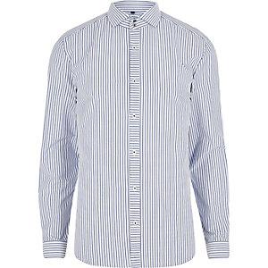 Chemise slim rayée bleue à col anglais