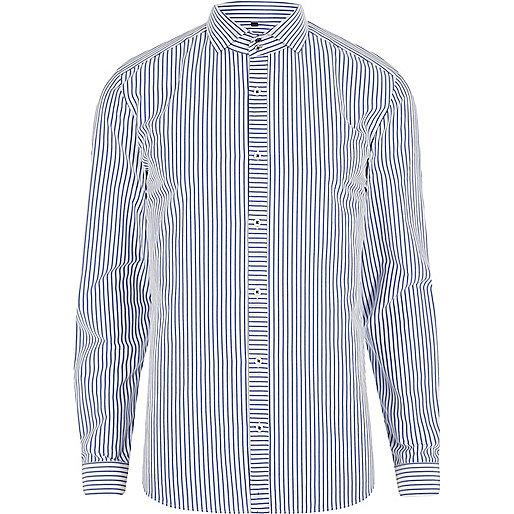 Blue stripe cutaway collar slim fit shirt