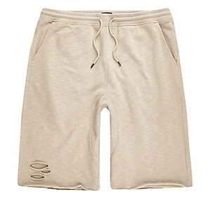 Stone slub ripped shorts