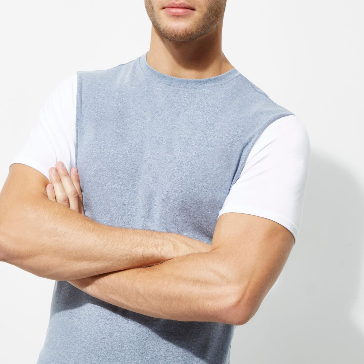 Blue muscle fit colour block sleeve T-shirt