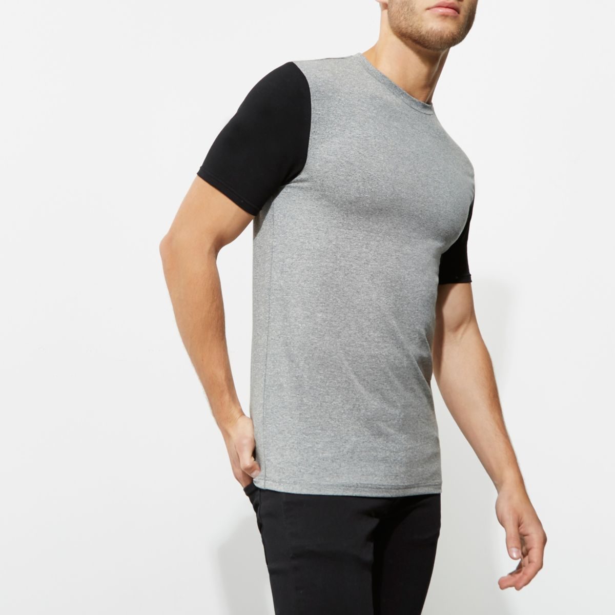 Grey muscle fit color block sleeve T-shirt