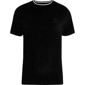 Black velour tipped slim fit T-shirt