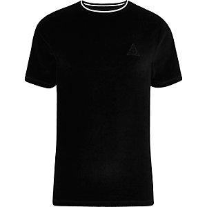 T-shirt slim en velours noir à passepoil