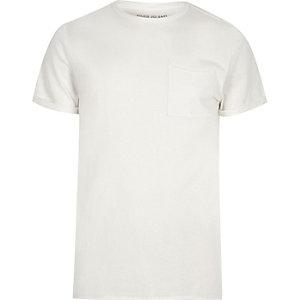 Crème washed slim-fit T-shirt met ronde hals