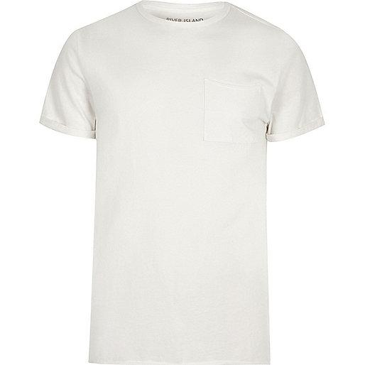 Cream washed crew neck slim fit T-shirt