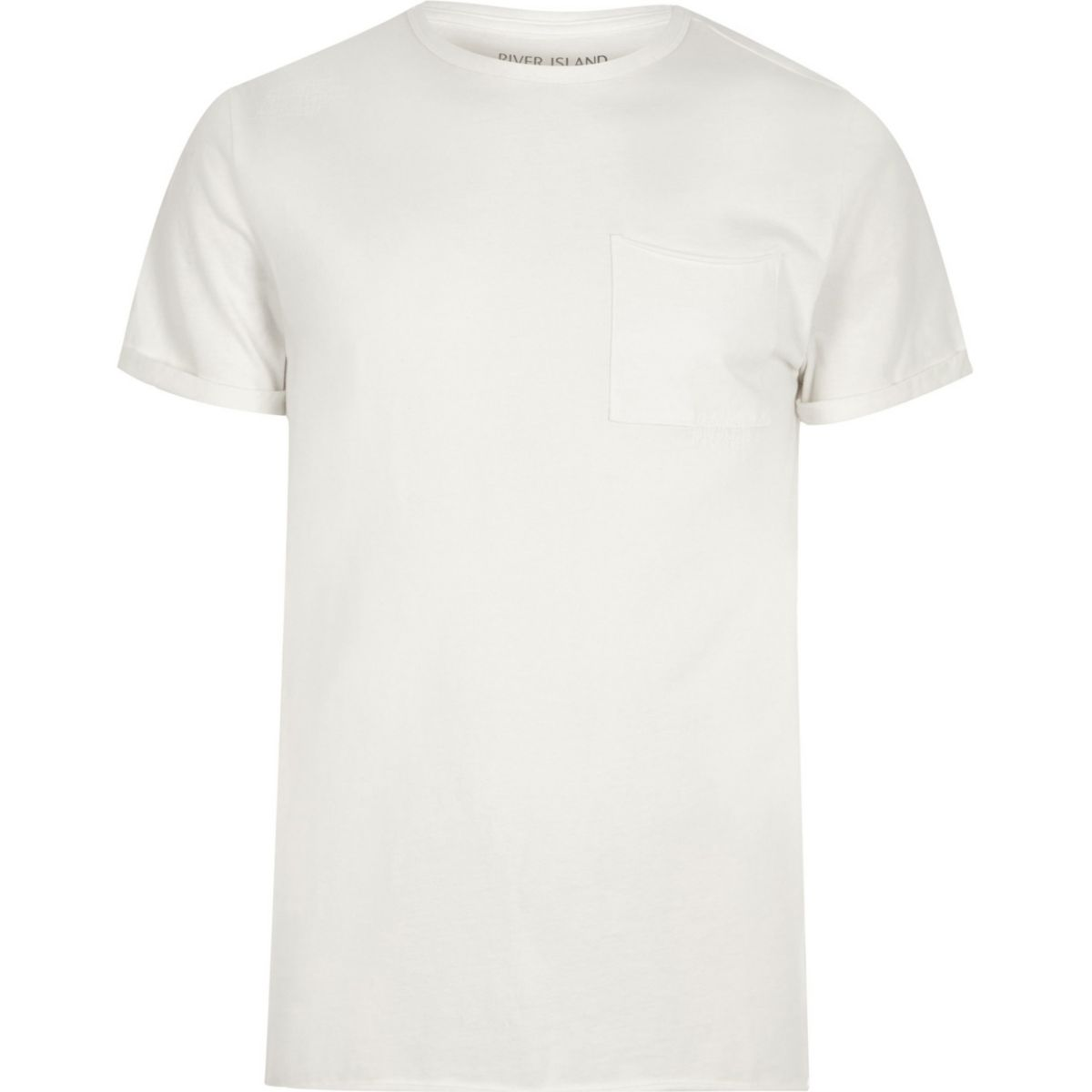 Cream washed crew neck slim fit T-shirt