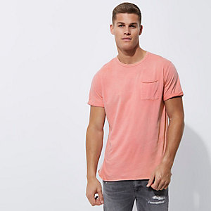 Pink washed crew neck slim fit T-shirt