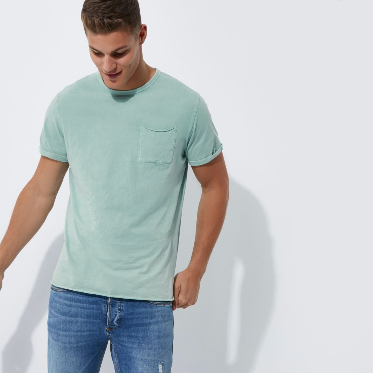 Light green washed crew neck slim fit T-shirt