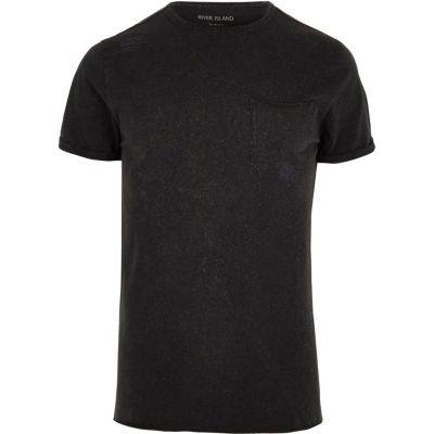 Zwart washed slim-fit T-shirt met ronde hals