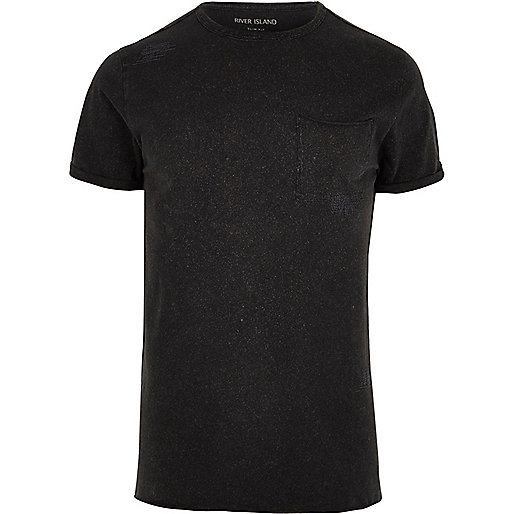 Black washed slim fit crew neck T-shirt