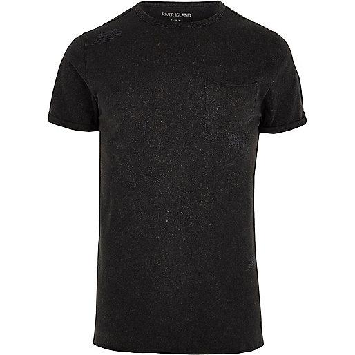 Black washed slim fit crew neck T-shirt