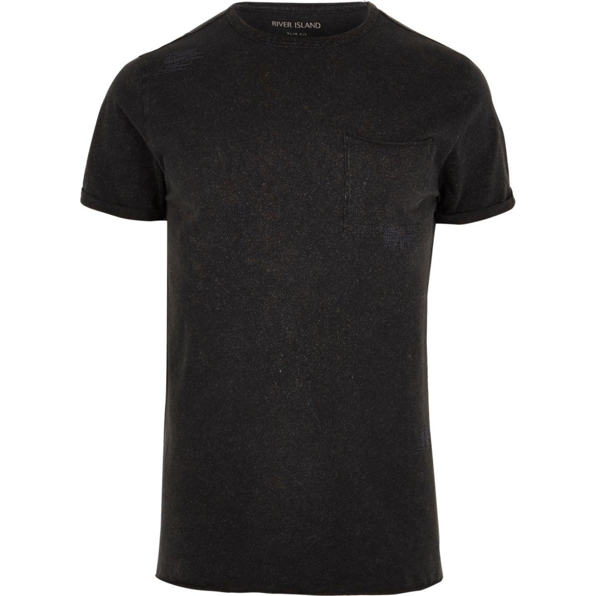 T-shirt ras-du-cou noir délavé slim