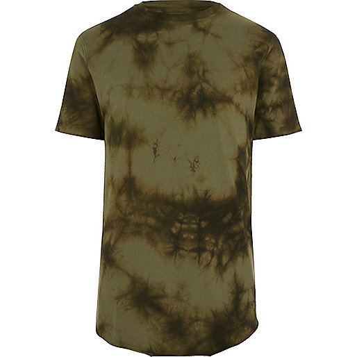 Khaki green tie dye slim fit T-shirt