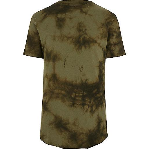 Khaki green tie dye slim fit T-shirt
