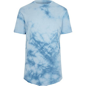 Blue tie dye slim fit T-shirt