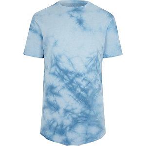 Blauw tie-dye slim-fit T-shirt