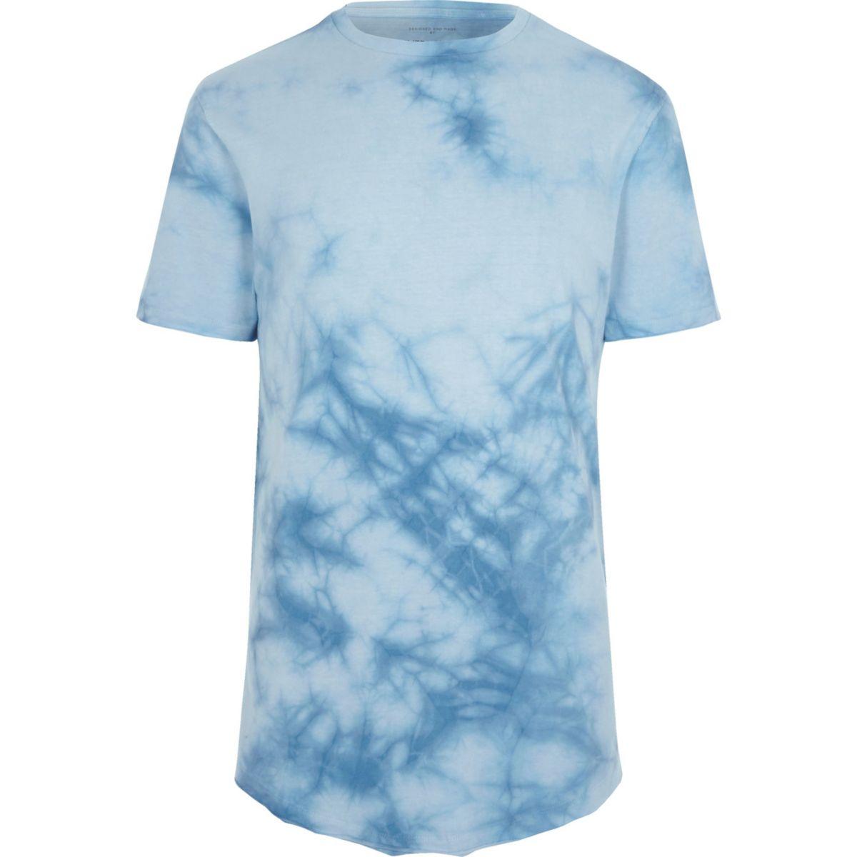 Blue tie dye slim fit T-shirt