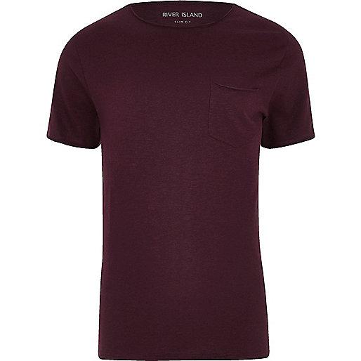 Dark red slim fit pocket T-shirt