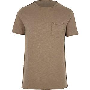 Bruin slim-fit T-shirt met zak