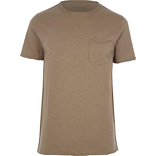 Brown slim fit pocket T-shirt