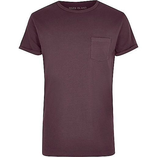 Dark pink rolled sleeve pocket T-shirt
