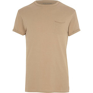 Light brown rolled sleeve pocket T-shirt
