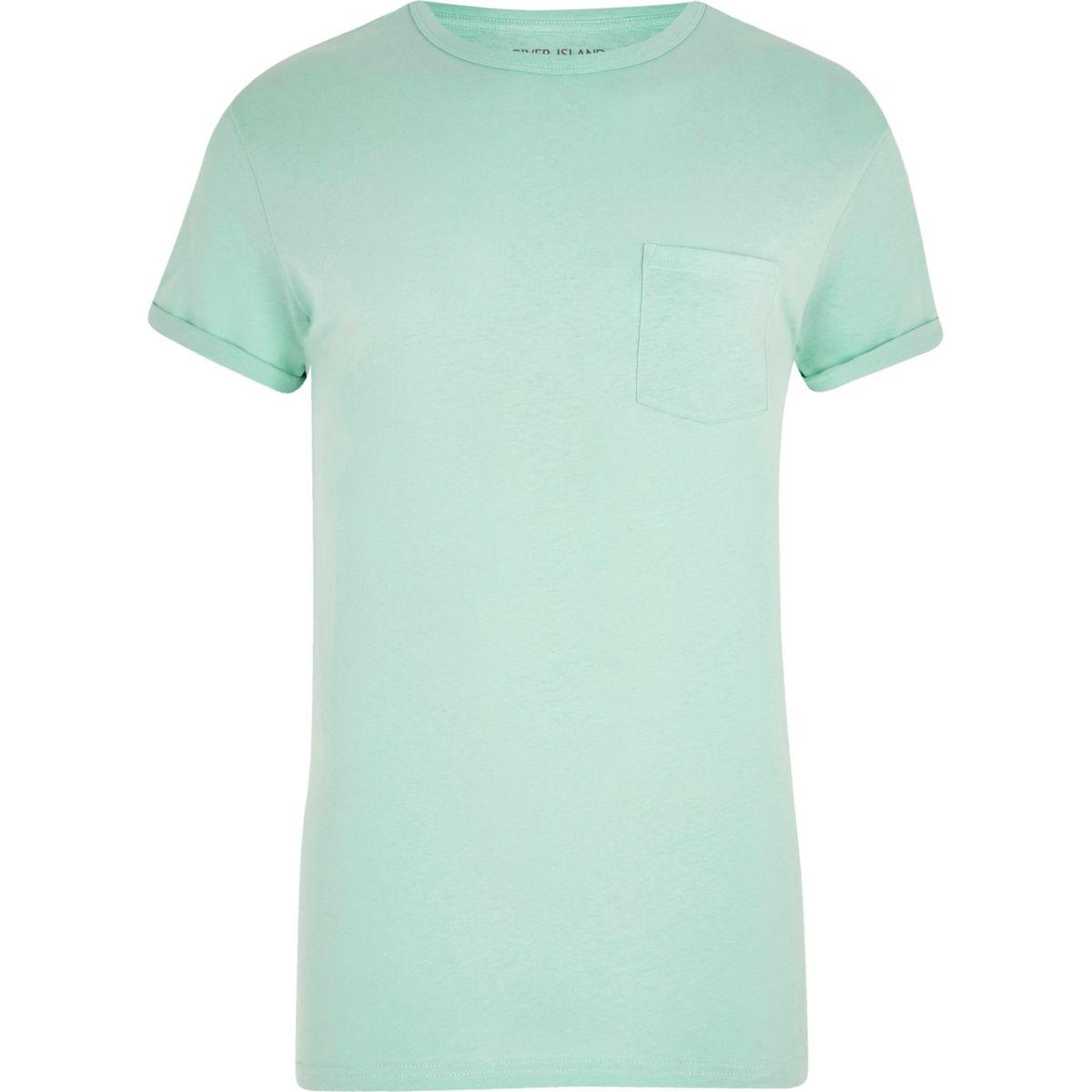 Light green rolled sleeve pocket T-shirt