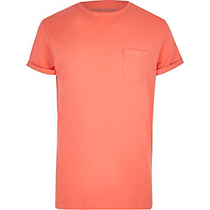 Coral rolled sleeve pocket T-shirt