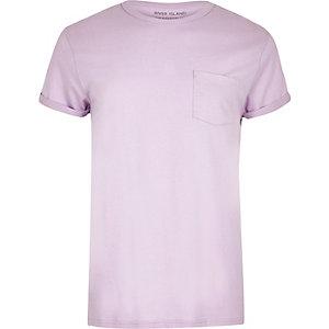 T-shirt violet clair à poche